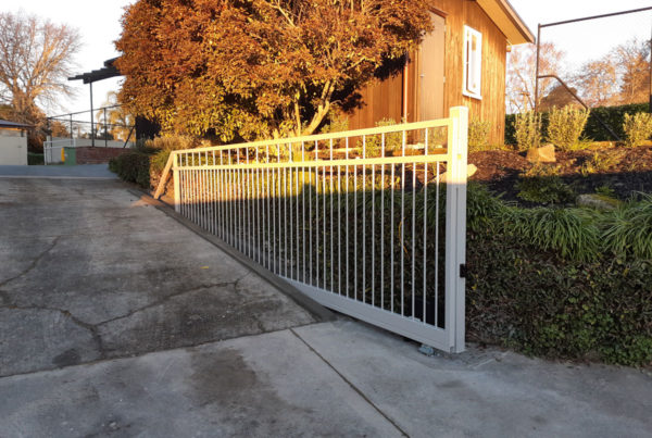 Custom made powdercoated steel cantilever gate
